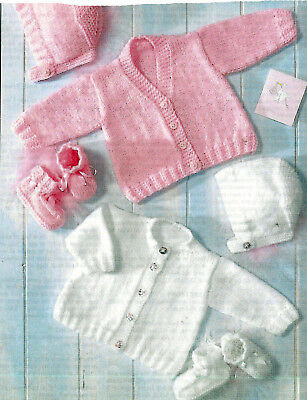Knitting Pattern Baby Girl Boy Easy Knit Cardigan Hat Bootees Dk