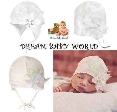 Cotton baby girls TIE UP hat CHRISTENING 0-24 months 2-6 Year KIDS toddler CAP