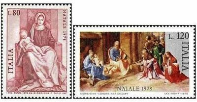 # Italia Italy - 1978-natale christmas-painting-set 2 stamps mnh