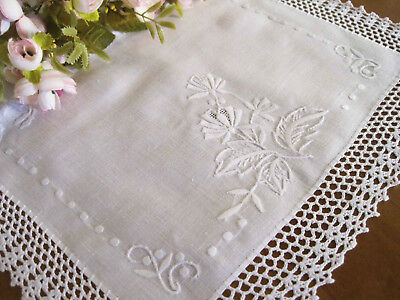 Hand Flower Embroidery Hemstitch Crochet Lace White Cotton Doily Topper Placemat