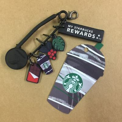 2018 New Starbucks China Frappuccino Die Cut Black MSR Card with Charms Set