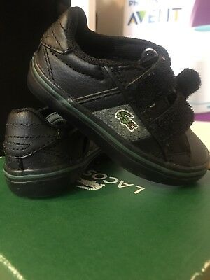 a08c8d1e977f12 ... Baby Boy Lacoste Trainers Winter Shoes Black Leather Uk Infant Size 3  half off 75b2c 59f5a ...