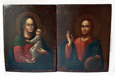 Antique 19th C Russian Orthodox Hand Painted Wooden 2 Icons of Wedding Pair