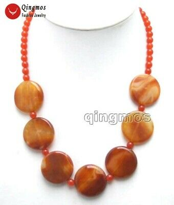 Big 28mm Coin Round Red Natural Striped agate & 6mm Red jade necklace 20'' -5965
