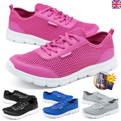 c4623fbf0486 Women Mens Running Trainers Lace Up Flat Comfy Fitness Gym Sports Shoes  Size UK