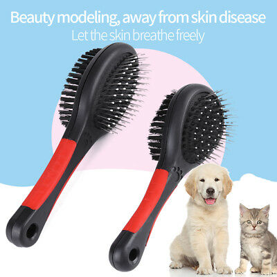 Double Sided Pet Brush For Dog Cat Hair Grooming Fur Shedding Cleaning Combs New