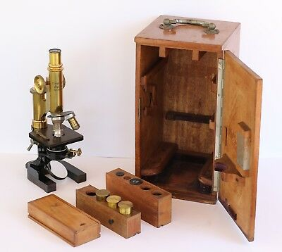 Antique Brass Ernst Leitz Wetzlar Microscope c1895 (№34061) with Cabinet