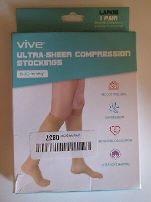 Vive ultra sheer compression stockings 15-20 mmHg Large