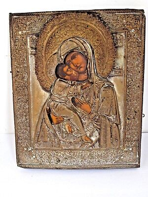 Antique Russian Icon of  Mother of God and Christ Child Oklad  19th c.