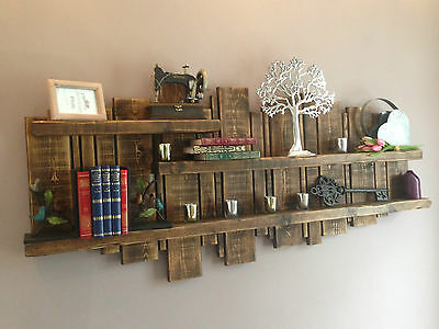 Wooden wall unit display floating rustic reclaimed shelf various colours & sizes