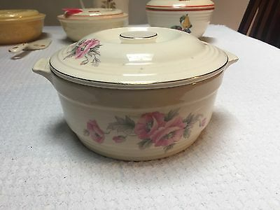 """Knowles Utility Ware 7"""" Casserole with Pink Floral Pattern"""