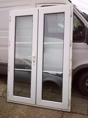 Old Used Upvc Georgian Glazed French Patio Doors With Key Double