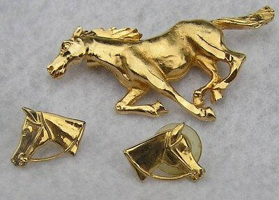 Set Running Horse Brooch Pin & Pair Earrings Married Gold Color Figural
