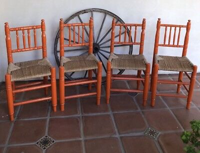 MONTEREY SPANISH MEXICAN REVIVAL Rare Painted Hand Woven Antique Chairs (4)