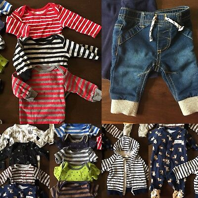 Lot 20 Pc. Newborn Clothes - Carter's - Boy Girl Unisex - Bodysuits, Hoodies NB