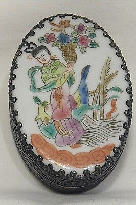 Vintage silver chinese jewel trinket box painted geisha porcelain & mirrored lid