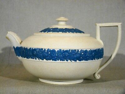 Genuine Early Antique Wedgwood Blue on Drabware Teapot 1800-1860