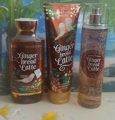 bath and body works gingerbread latte shower gel body cream fine fragrance mist