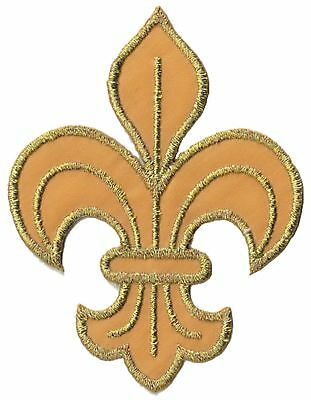 écusson ECUSSON PATCHE PATCH THERMOCOLLANT FLEUR DE LYS  OR GOLD DIM. 7,5 X 6 CM