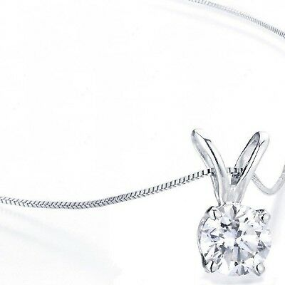 """2.0 ct Round Cut 14k White Gold Solitaire Pendant Necklace 16"""" Gold Chain"""