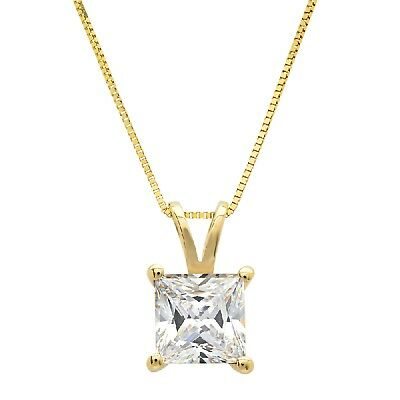"""1.0 ct Princess 14k Yellow Gold Solitaire Pendant Necklace 16"""" Yellow Gold Chain"""