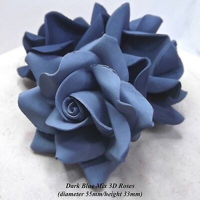 Dark Blue Mix 3D Sugar Roses navy blue wedding cake decorations NONWIRED 55mm