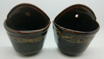 Vintage Brown Honeycomb Pair of Wall Pockets Very Rare Find Fosters, Devon Etc