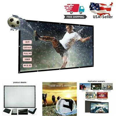 "150"" 16:9 Foldable Wall Projection Projector Screen HD 3D Movie For Home Theater"