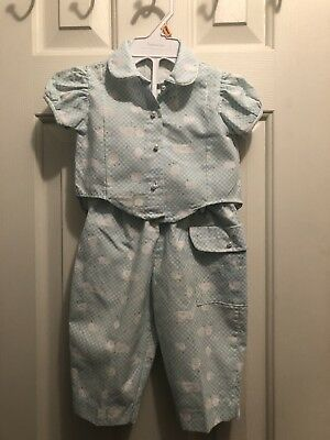 Vintage Toddler 2 Piece Pajamas Button Down Size 12 Month Pearl Button Mayfair