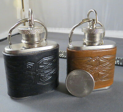 1 Brown and 1 Black 1 Oz. Emergency Flasks with Embossed Celtic Knots + Keyrings