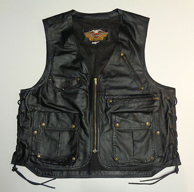 Harley Davidson Hd Black Leather Cargo Vest Mens Xxl 2Xl *made In Usa*  93