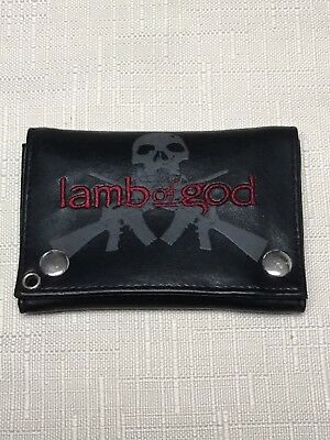 Vintage Lamb Of God Wallet Heavy Metal Rock Band Chain Cd Shirt Dual Button