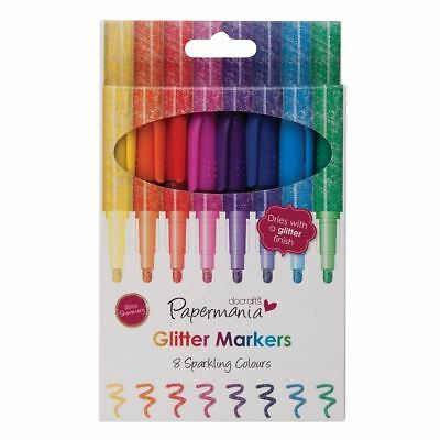 8 x Papermania Glitter Markers Pens by Papermania