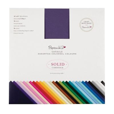 Papermania Capsule 12 x 12 Solid Smooth Texture Cardstock 75 Sheets And Colours
