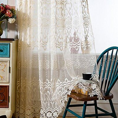 """Elegant Import Lace Sheer Curtains Red Window Drapes Jacquard Door Tulle 63/84"""""""