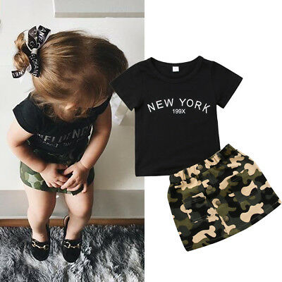 US CANIS Newborn Toddler Baby Girls T-shirt Skirts Camouflage Mini Dress Outfits