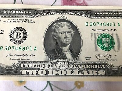 Two Dollar Bill - 2013-B Uncirculated! (Consecutive Serial Numbers)