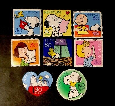 Used Rare Art Japanese 8 Postage Stamps Snoopy Complete Set2010 Issue 93
