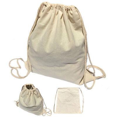 Drawstring Sack Backpack Bag Tote Cotton Natural White Travel Yoga Beach Sports