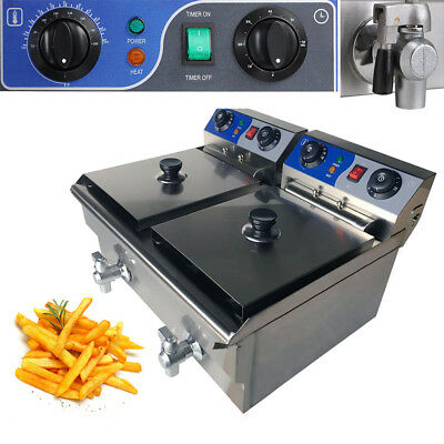 20L Commercial Electric Deep Fryer Frying Countertop Basket Chip Cooker w/ Timer