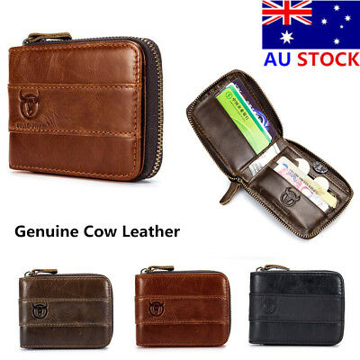 BULLCAPTAIN Men's Genuine Cow Leather Bifold Wallet Anti-RFID Card Holder Purse