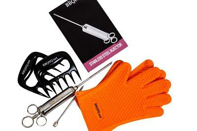 Stainless Injector + Silicone Meat Handling Gloves + Shredding Claws BBQ Bundle