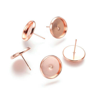 500pcs Rose Gold Brass Cup Earring Posts Nickel Free Earring Findings 12mm Tray