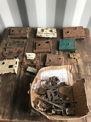 Massive Job Lot Antique Vintage  Door Locks, ,Plates , Keys Parts , Iron Salvage