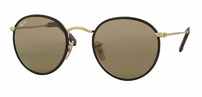 8e5127823f Ray Ban RB3475Q Leather Round 112 53 Matte Gold Brown   Light Brown  Sunglasses 5