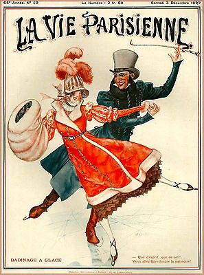 1927 La Vie Parisienne Ice Skating French France Travel Advertisement Poster