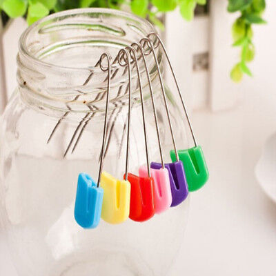 50pcs Stainless Steel Plastic Head Safety nappy Locking Baby Cloth Diaper Pins