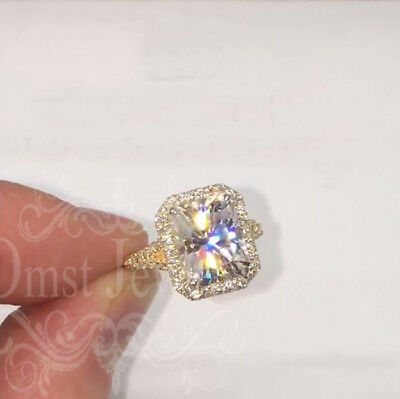 4.3Ct Radiant Forever Sparkle Moissanite Engagement Ring 14K Solid Yellow Gold