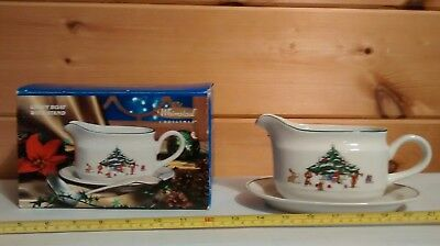 Salem China Co. Whimsical Christmas Gravy Boat W/Stand