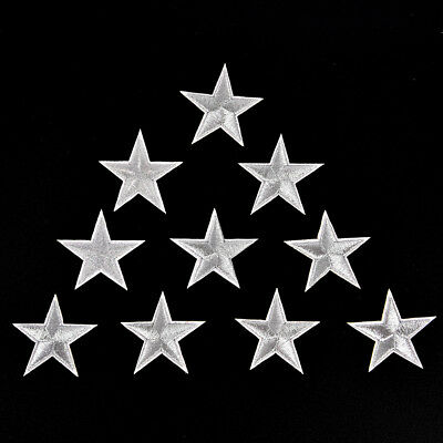 10PCs Silver Stars Embroidered Badges Iron On Patches Motif Applique Stickers FO